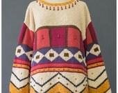 Vtg Geometric Sweater - 90s Sweater - Tunic Sweater - Beaded Sweater - Tribal Sweater - Oversize Sweater - Cotton Sweater - 1990s Sweater