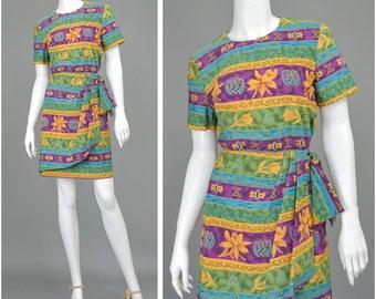 SALE - 90s Dress Floral Dress Mini Dress Egyptian Hieroglyph Tribal Print Dress Blouson Wrap Dress Striped Dress 1990s Dress