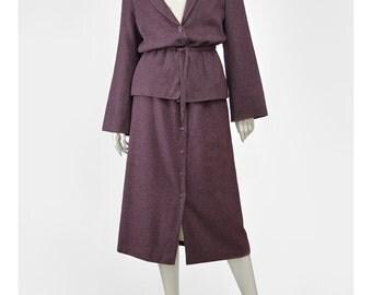30% 0FF SALE Wool Suit 70s Plum Purple Suit 2 Piece Set Outfit Peplum Bell Sleeve Jacket High Waist Button Up Midi Skirt Suit