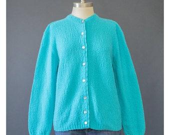 SALE - 60s Cardigan - Bright Aqua Blue Cardigan Sweater - 1960s Sweater - Button Down Blue Sweater - Knit 60s Sweater - 1960s Cardigan M/L