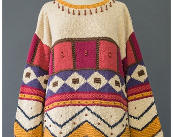 Geometric Sweater - 90s Sweater - Tunic Sweater - Beaded Tribal Sweater - Oversize Sweater - Cotton Sweater - 1990s Sweater - Knit Sweater