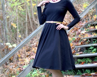 Black jersey swing dress with long sleeves and circle skirt, size S / autumn winter dress / casual dress