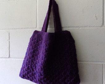 Purple Knitted Handbag. Hand Knitted Purple Tote Bag.