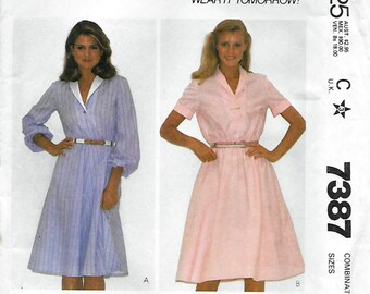 McCall's 7387 Women's 80s Pullover Dress Sewing Pattern with Shawl Collar Bust 34, 36, 38