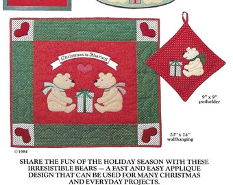 Country Appliques Bears Christmas Sewing Pattern Frame Wall HAnging Potholder Oval Hoop