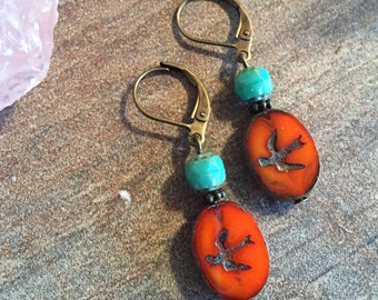 Bird Earrings - Orange - Turquoise