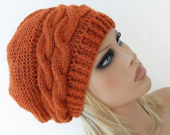 Slouchy Hat Slouch Beanie Hat Hand Knit Winter Women Hat Terracotta Fall Chunky Christmas Gift for her