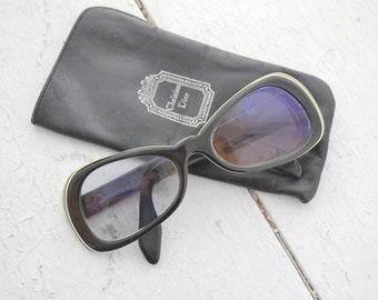 1960s Christian Dior Black and Cream Sunglasses
