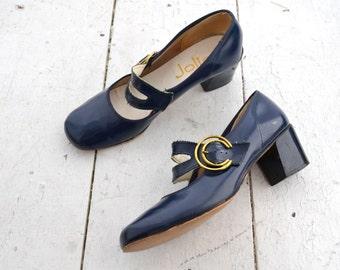 1960s Jolie Navy Patent Vinyl Mary Jane Heels, Size 6.5