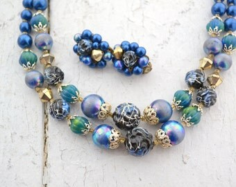 1960s Blue Multi-Strand Pearl Bead and Clip Earrings Set