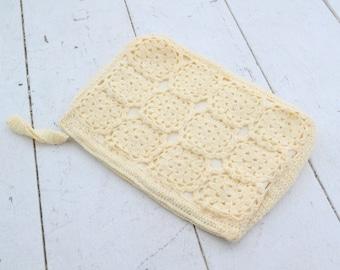 1960s Crocheted Cream Clutch Handbag