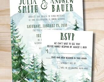 Watercolor Pine Tree Mountain Wedding Invitation/Response Card Invitation Suite
