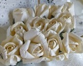 12 Small Ivory Cream Parchment Paper Roses Wedding Floral Decorations