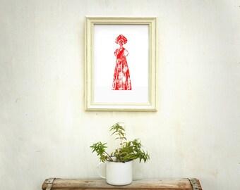 Red print, wood print, red print, woman print, 8 11 inch, folk art, gift under 20, wall decor, primitive art, russian woman, red woman
