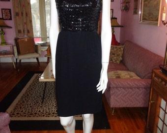 1960's Black SEQUIN Coctail Dress LBD Wiggle Skirt  Petite 60s  26 waist 1950s Mad Men Rockabilly VlV