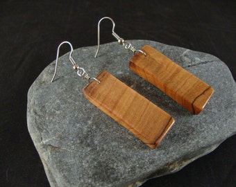 Wooden Dangle Earrings - Olive Wood - Natural and Eco Friendly Jewelry- Rectangular