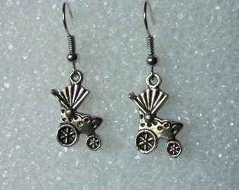 Baby Stroller Earrings! **What A Way To Announce That You Are Pregnant** Old Fashioned Baby Buggy! Tibetan Silver Baby Buggy! On Sale Now!