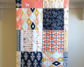 Baby Girl Quilt - Arizona Arrows - Southwestern, Deer Head, Aztec, Blanket, Mint, Coral, Navy, White, Mustard, Handmade, Minky Back