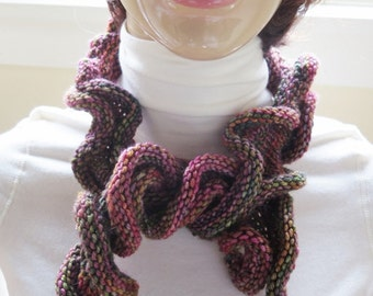 Scarf Multiple Mixed Fiber Curly Scarf -  - Hand Knit Deep Shades  Brown & Deep Dark Rose - Neck Scarf  - Nice and Curly