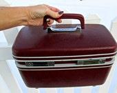 Vintage Burgundy Samsonite Train Case - Oxblood Red Samsonite Profile Train Case