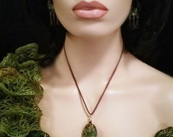 Fantasy Forest handmade lampwork bead - Fine Art Glass focal pendant - very expensive lampwork bead - felt cord or chain choice OOAK