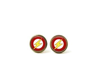 Superhero Glass Dome Stud Earrings 203E