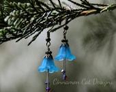 Elfin Turquoise Blue Crocus Flower Earrings with Purple Swarovski Crystals