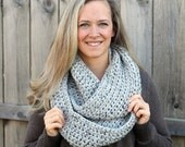 Cool Weather Infinity Scarf in Grey Marble-Light Gray with detail- More colors available