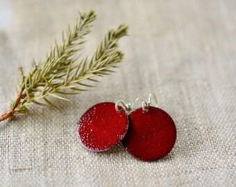 Marsala enamel earrings - dark red round earrings - sterling silver earwire -  handmade jewelry by Alery