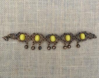 Brass Yellow Bead Bracelet