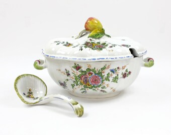 Soup Tureen with Ladle - Serving Tureen, Hand Painted, Ceramic Tureen, Large Capacity, Made in Italy, c.1940s