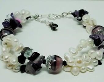Three Strand White Fresh Water Pearls Bracelet