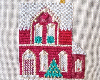 Vintage Needlepoint Tapestry Canvas Christmas House Hand Woven Tapestry Wall Hanging Upholstery Fabric Vintage 1960s