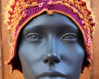 Orangy Crochet Hat with a Huge Wooden Button...