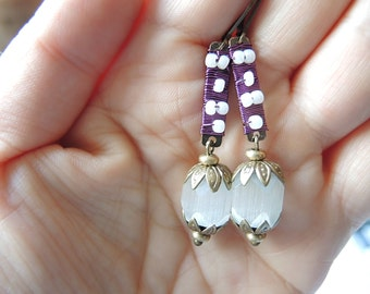 SALE!!! : earrings with purple wirewrapped connector