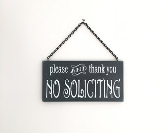No Soliciting Sign, Soliciting Sign, Wall Art, Wood Sign, Door Sign