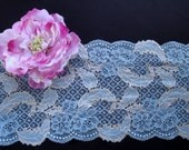 "8"" (20.5 cm) Wide Pastel Blue and Golden Beige Floral Stretch Leaf Pattern Lace for Lingerie Dancewear Sewing Table Runner Decor FJT3 ST"