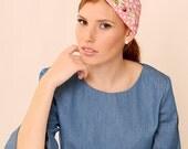 Headcovering,Pink head scarf,Floral bohemian wrap,Chiffon wrap,Pink headwrap,Hair accessory,Wide boho headband,Boho headwrap