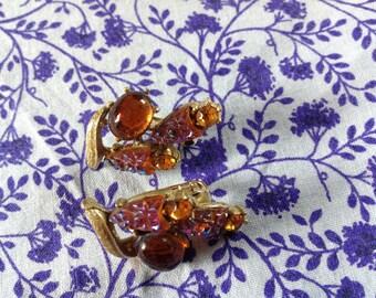 Vintage Amber Earrings, 50's Clip On Earrings,  Aurora Borealis Earrings,  Coro Earrings, Amber  Rhinestones