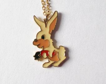 Rafaelian Bunny Rabbit Necklace Alice in Wonderland Vintage Necklace