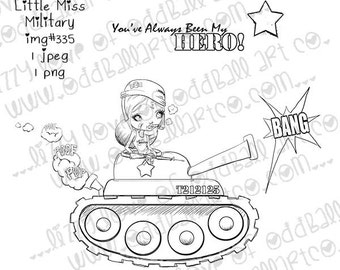 INSTANT DOWNLOAD Whimsical Big Eye Military Girl Stamp w/ HERO Sentiment - Little Miss Military Image No.335 by Lizzy Love