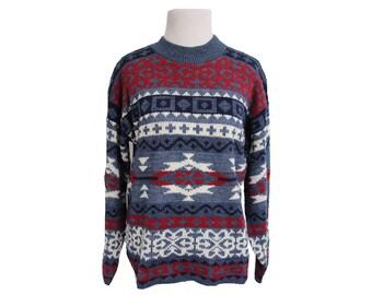Vintage Women's Southwestern Aztec Print Sweater Size Small