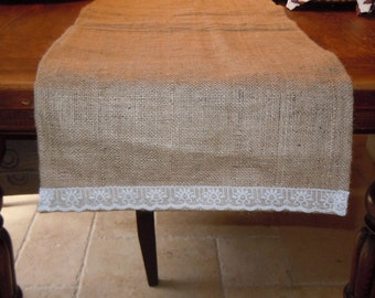 Burlap Table Runner with Lace, Wedding, Party, Home Decor, Custom Sizes & Large Order Available