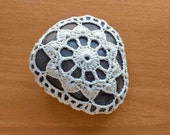 Crocheted Wish Stone, Crocheted Doily Covered Polished Rock