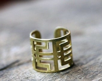 Labyrinth Cage Ring, Adjustable Cage Ring, Brass Ring, Midi Ring, Thumb Ring, Gold Brass Ring, Midi Cage Ring, Knuckle Ring, Geometry