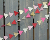 Valentine's Day Geometric Triangle Arrow Sewn Paper Garland (Red, Gold, Hot Pink, Cream, & Light Pink) - Decor, Party Banner, Photo Backdrop