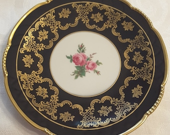 "Mitterteich 7 1/2""D Plate; Hand Painted Roses; Bavaria Germany  circa 1918 to the present"