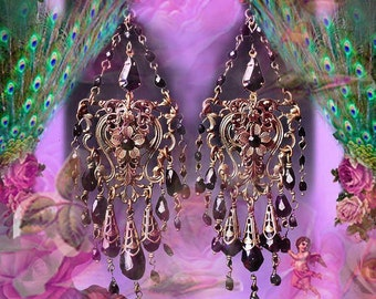 Antique Brass Gothic Victorian Crystal Chandelier Earrings, Black Glass Filigree Jewelry, Light Rose Pink or Amethyst Purple Color Options