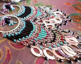 """5"""" Long Beaded Indian Bohemian Chandelier Earrings, Exotic Hippie Jewelry, Boho, Silver Hoops, Aqua Blue, Black and Red, Clip-On Option"""