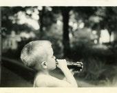 "Vintage Photo ""Soda Summer"" Snapshot Photo Old Antique Photo Black & White Photograph Found Photo Paper Ephemera Vernacular - 158"